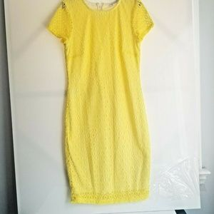 Bisou Bisou Dress Yellow Lace Size 10 Short Sleeve